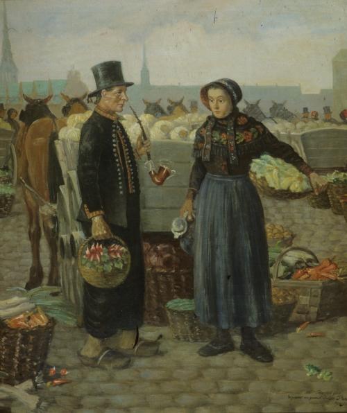Bønder på Højbro plads - maleri Albert Petersen