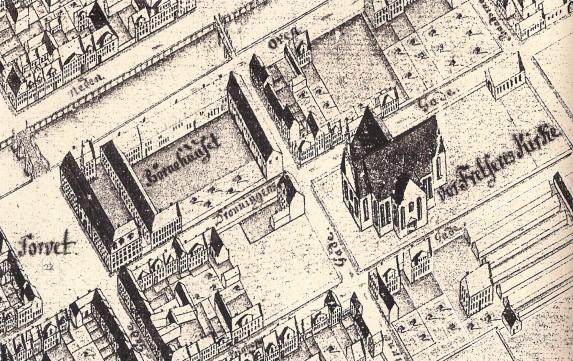 Geddes kort - 1761 udsnit omkring Vor Frelsers Kirke RES