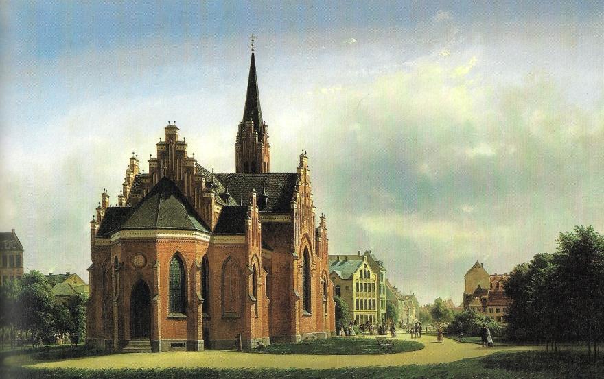 Udsigt fra Nørre Fælled mod Sankt Johannes Kirken (Ferdinad Richardt) 1869 (Københavns Museum)