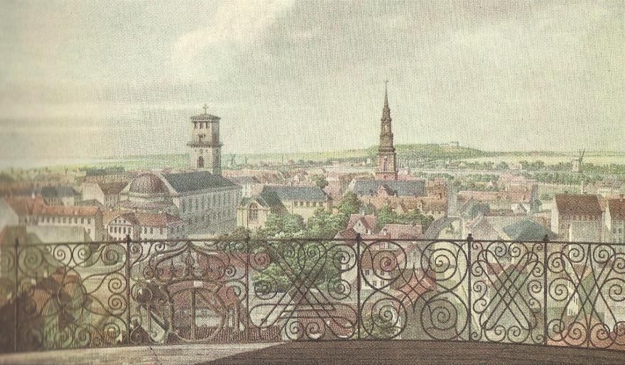 Udsigten fra Rundetårn mod Frederiksberg - H G F Holm - ca 1836 RES
