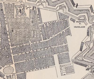 Nyboder er udvidet flere gange. Kortet fra slutningen af 1600-tallet viser kvarterets oprindelige udstrækning.