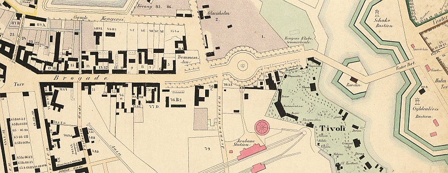 1850erne - Vestervold Vesterbro - Thor Branths kort - Udsnit (Københavns Stadsarkiv)