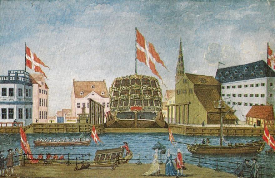 Friedericus Quintus i Dokken - Gouache ukendt kunstner 1755 (Original i Københavns Museum) RES