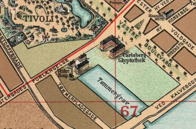 Hvor Anker Heegaards gade ligger i dag, var tidligere en lille havn. Udsnit af kort fra 1897.
