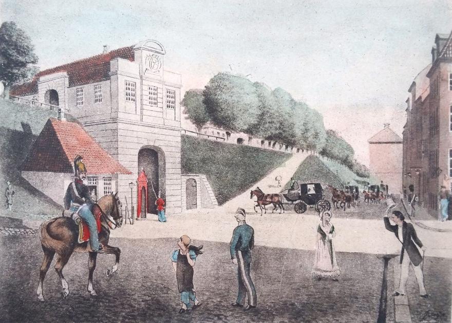 Nørreport - akvarel Beyer - 1850erne RES