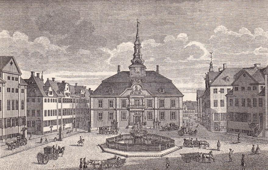 Rådhuset set fra Gammeltorv (efter Thurah (efter Bruun)) RES