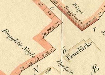 Sterm ca 1840 - udsnit Bispetorvet