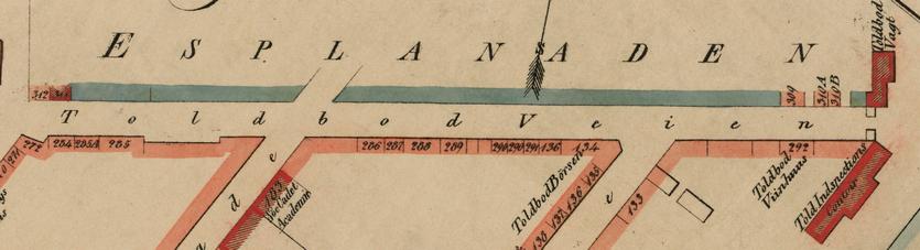 Udsnit af kort 1840erne (Københavns Stadsarkiv).