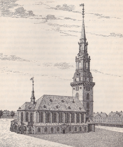 Vor Frue Kirke som den så ud i 1700-tallet.