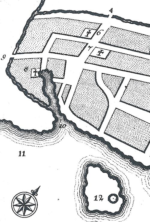 Måske er det Kattesundet, der ses på det rekonstruerede kort over det ældste København, som man mener byen så ud i 1100-tallet.