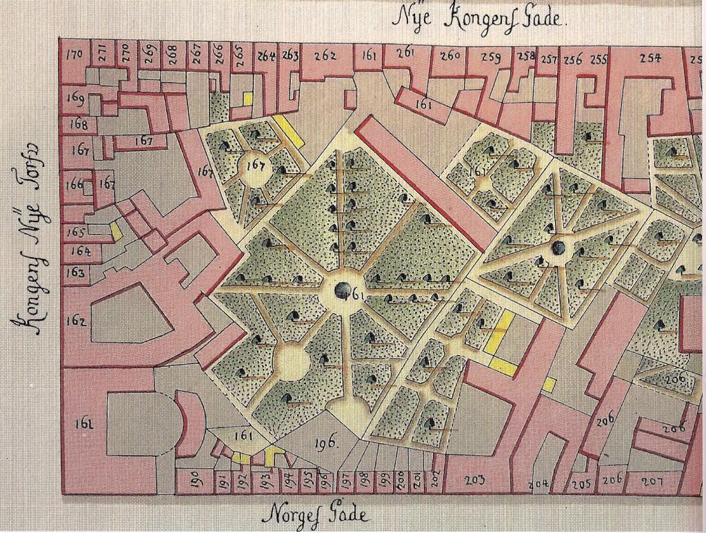 1757 - Geddes kort - udsnit nord for Kongens Nytorv RES