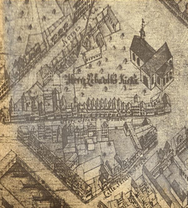 1761 - Geddes eleverede kort - udsnit Store Strandstræde