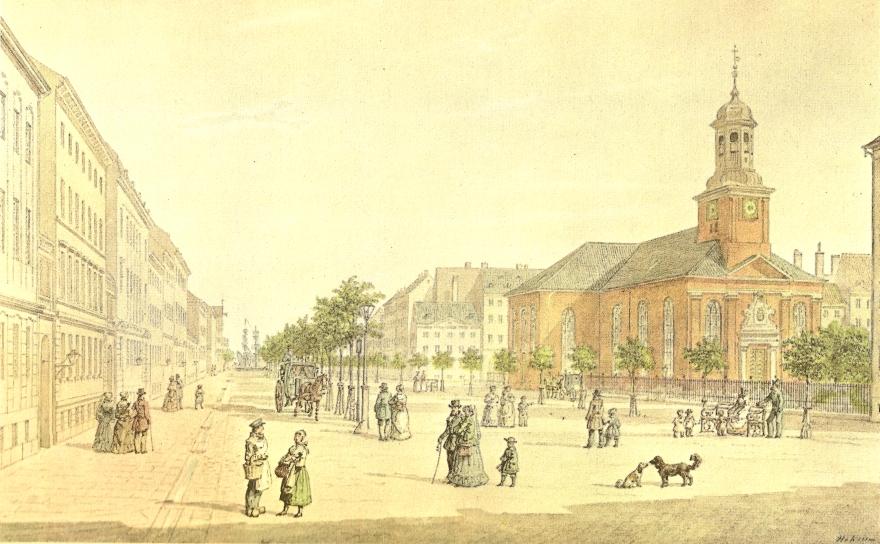 Akvarel af HGF Holm ca 1855 (Tilhører Københavns Museum)