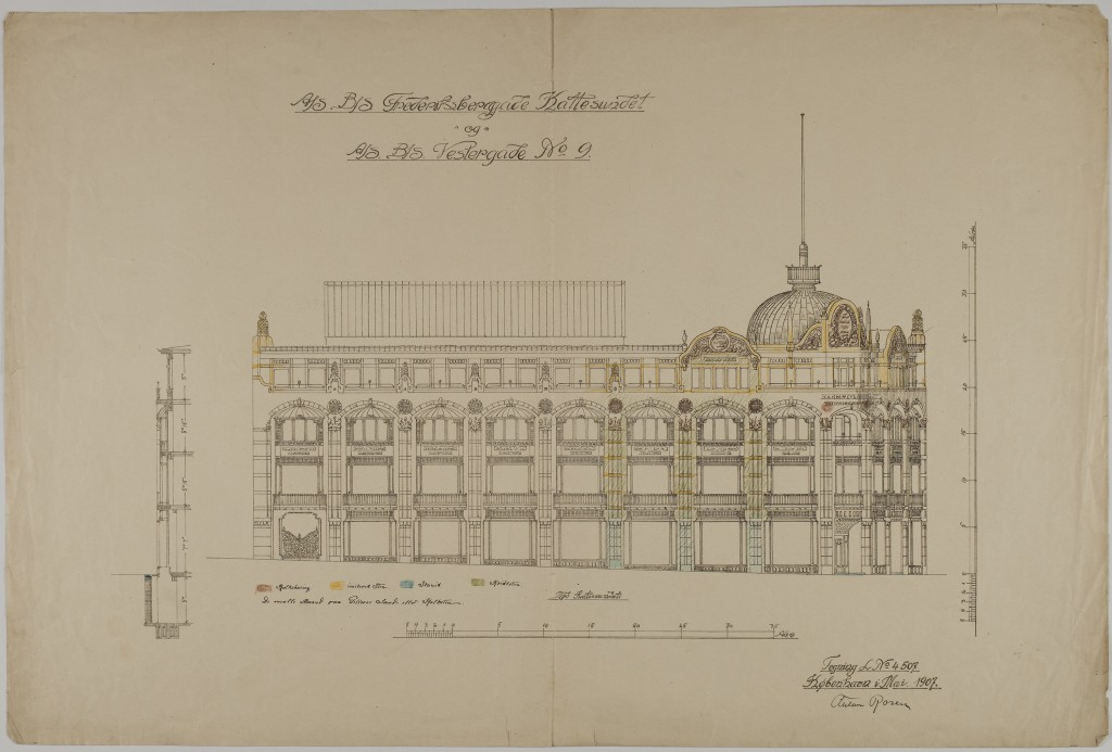 Tegning (1907) fra Kunstakademiets samling af arkitekturtegninger.