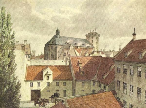 """I Pustervig lå gæstgiveriet """"Gammel Avlsgård"""". Her på en akvarel udført af H. G. F. Holm (tilhører Københavns Museum)."""
