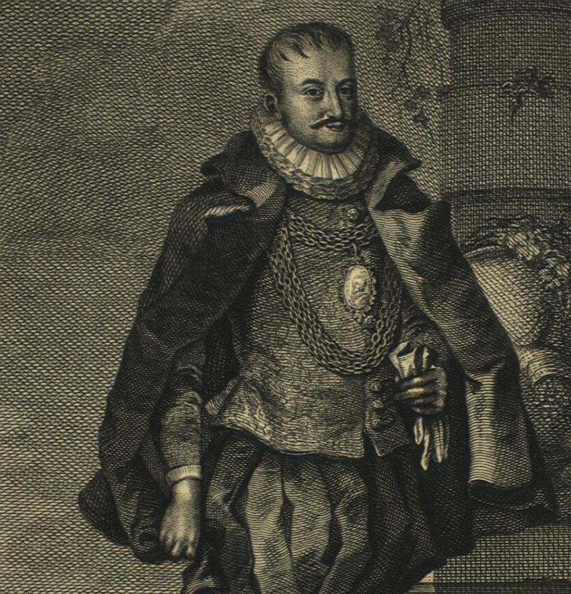 Christoffer Valkendorf. Billedet er fremstillet af en ysk kobberstikker i 1720. (Det Kgl. Bibliotek).