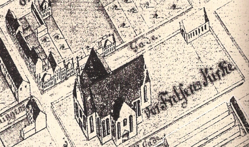 Geddes kort - 1761 udsnit omkring Vor Frelsers Kirke