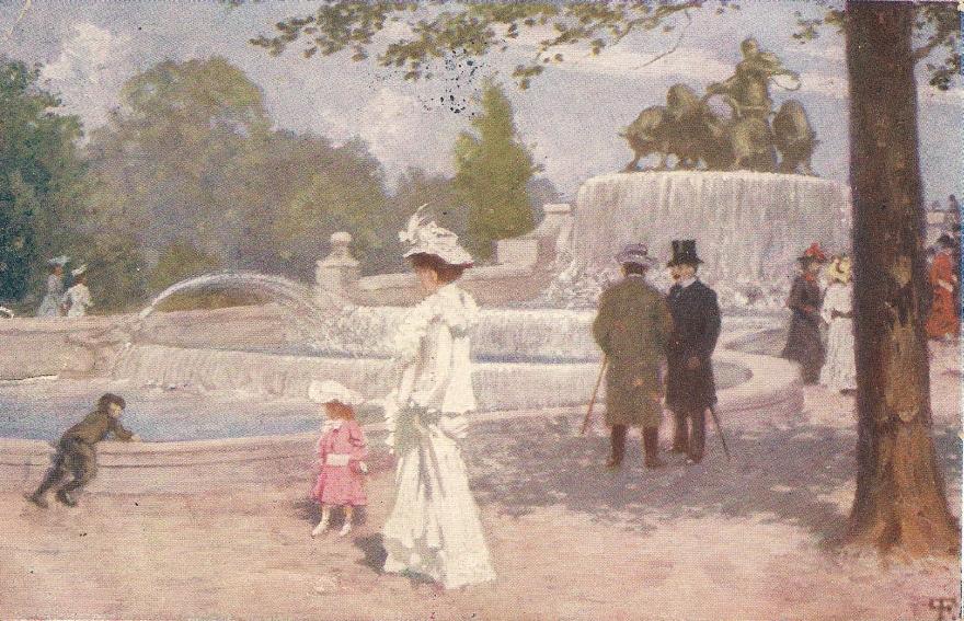 Gefionspringvandet - måske Poul Fischer- postkort sendt 1909
