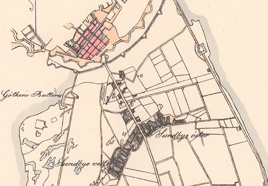 Lohses kort over Amager ca 1814 - udsnit Sundbyerne mv. RES