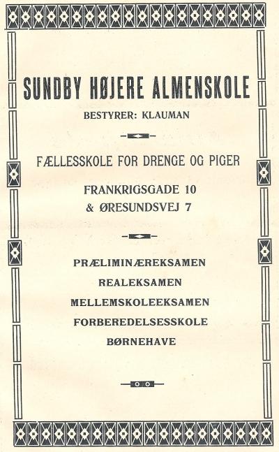 Klaumanns Skole - annonce Amager Vejviser 1910 RES