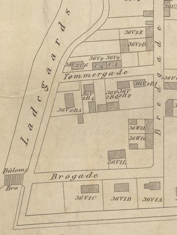 1856 - Orienteringsplan over Nørrebro og Blågård (Københavns Stadsarkiv) Udsnit Ewaldsgade