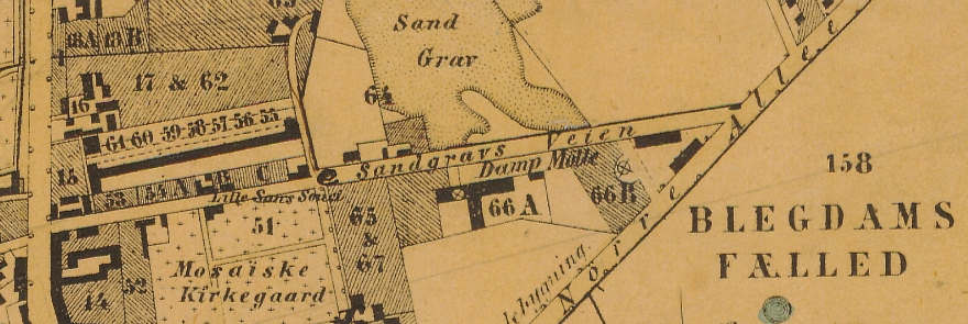 1858 - Plan af forstaden Nørrebro (Københavns Stadsarkiv) Udsnit Møllegade