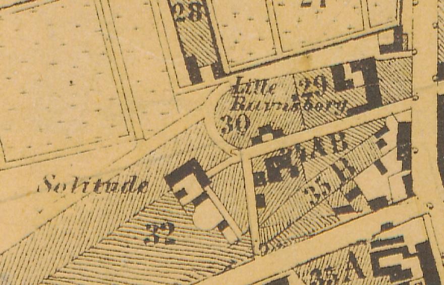 1858 - Plan af forstaden Nørrebro (Københavns Stadsarkiv) Udsnit Solitudevej
