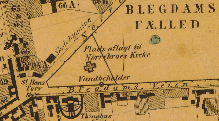 1858 - Plan af forstaden Nørrebro (Københavns Stadsarkiv) Udsnit