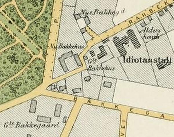 1880(ca) - Berggrens kort (Efter Trap (14)) Udsnit Bakkegårds Alle