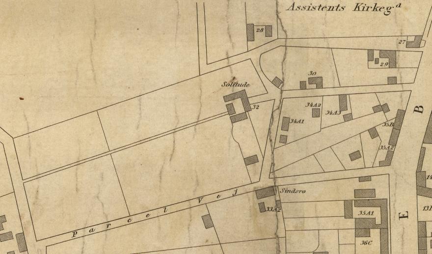 Orienteringsplan over Nørrebro og Blågård - 1856 (Københavns Stadsarkiv) Udsnit Griffenfeldtsgade