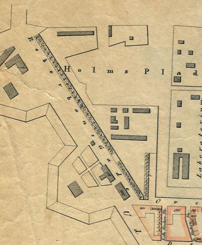 Udsnit Sterms kort 1840-1841 Langebrogade