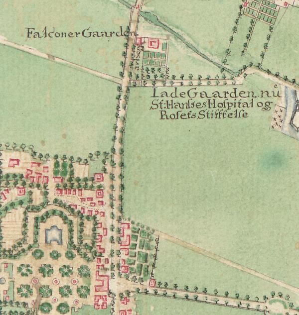 Udsnit af Kort over København og omegn 1770 (Original i Københavns Stadsarkiv)