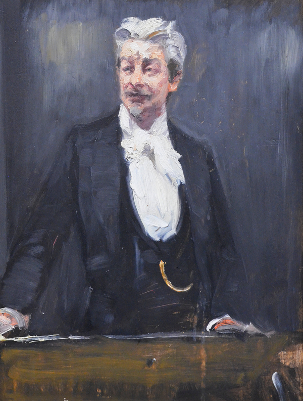 På Den Hirschsprungske Samling - ikke langt fra Georg Brandes Plads - hænger P. S. Krøyers maleri fra 1901 af Brandes som foredragsholder.