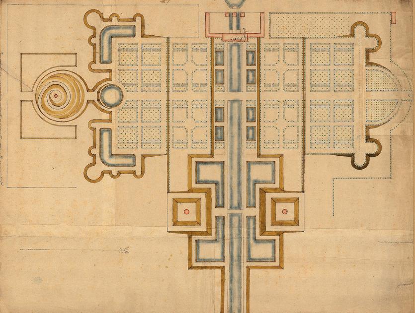 Frederiksdal Slot - haveplan 1669 (Danmarks Kunstbibliotek)