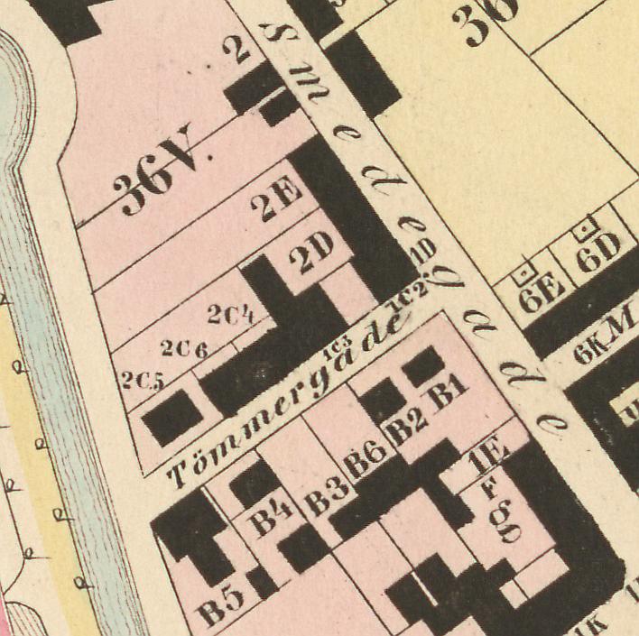 Udsnit af Thor Branths kort fra1850erne over Nørrebro og Frederiksberg (Københavns Stadsarkiv)