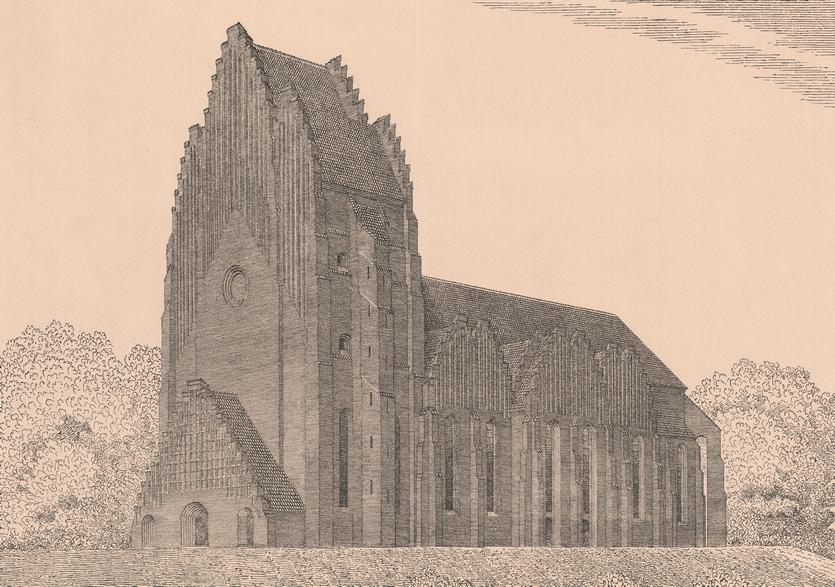 Grundtvigs Kirke. P. V. Jensen-Klints forslag 1913 (Danmarks Kunstbibliotek