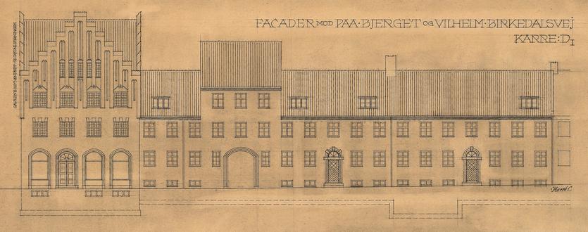 På Bjerget. Tegning til bebyggelse af P. V. Jensen-Klint. 1929. (Danmarks Kunstbibliotek)