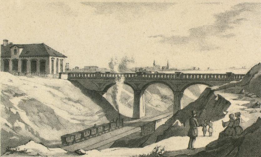 Jernbanebroen ved Carlsberg. H. G. F. Holm, ca. 1850.