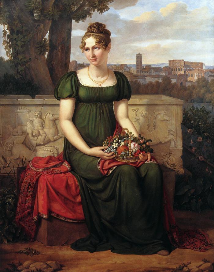 J. L. Lund - Portræt af Ida Brun med Udsigt til Rom i Baggrunden. 1811. (Privateje)