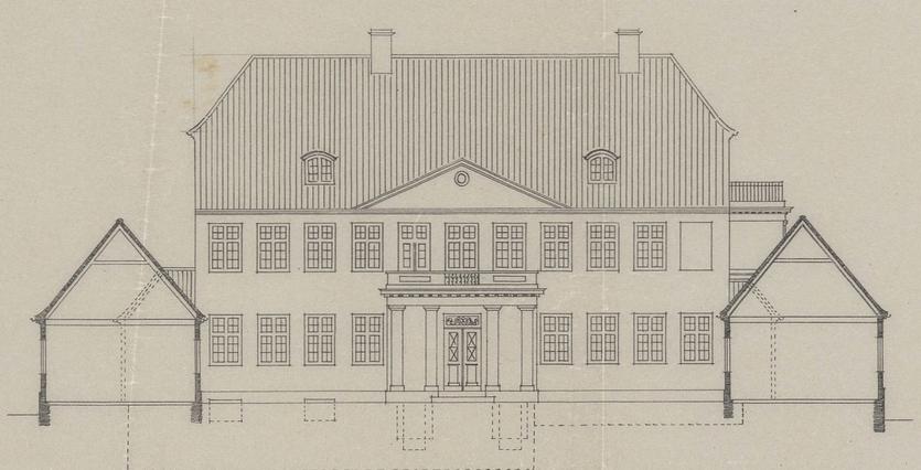 Marienborg. Tegning efter ombygning af Gotfred Tvede (Danmarks Kunstbibliotek) RED