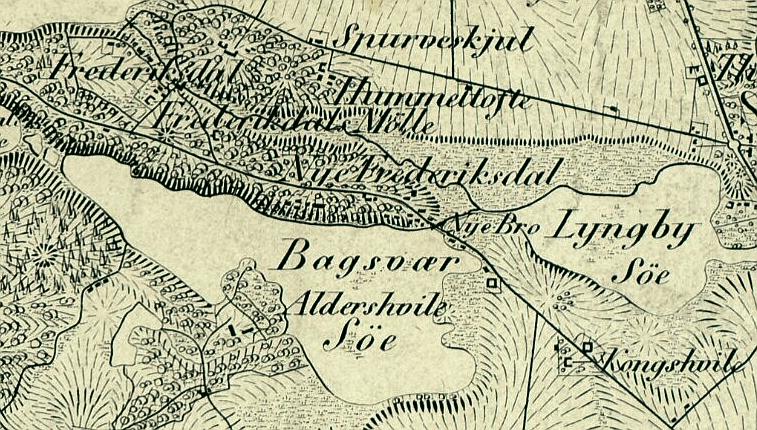Udsnit af Generalqvartermestertabens kort over Københavns omegn 1830 (Original i Det Kgl. Bibliotek)