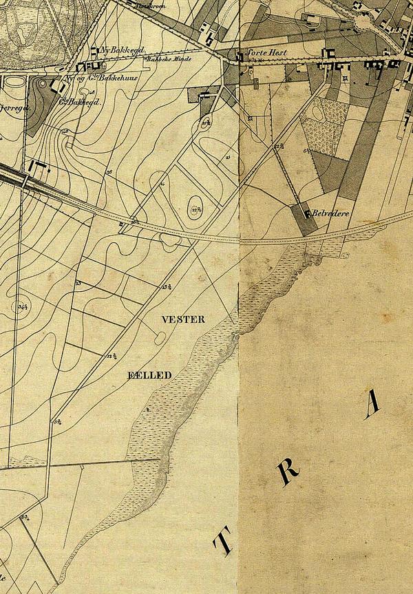 Udsnit af kort over Københavns Omegn 1852. Udarbejdet af Generalkvartermesterstaben (Det Kgl. Bibliotek)