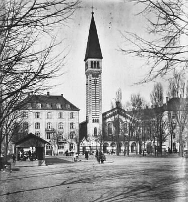Enghave Plads med Kristkirken. Foto af Holger Damgaard (Det Kgl. Bibliotek)