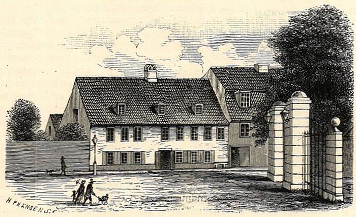 Adam Oehlenschlägers fødehjem på Vesterbrogade. Porten til højre fører ind til Frederiksberg Allé.