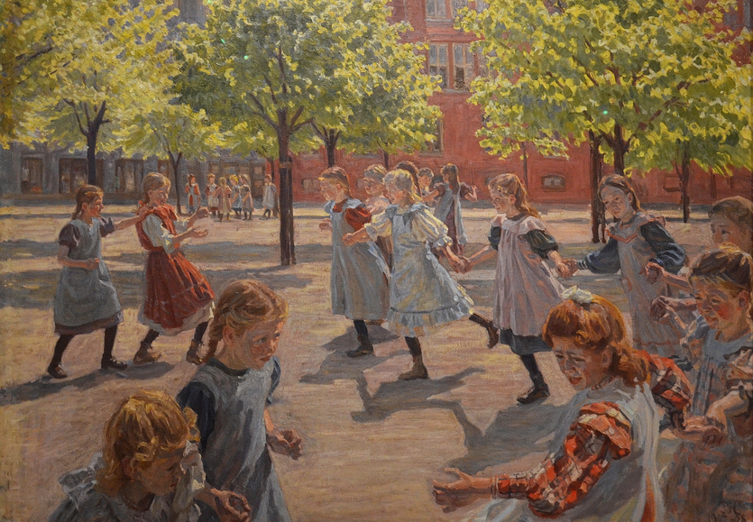 """Peter Hansens maleri """"Legende børn Enghaveplads"""".1907-08. Tilhører SMK"""