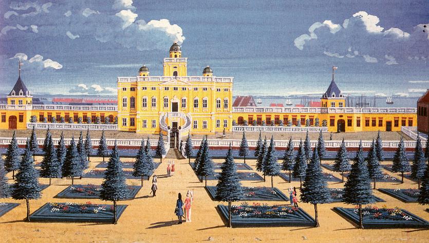 Sophie Amalienborg med det tilhørede haveanlæg i forgrunden. (Kongernes Samling)