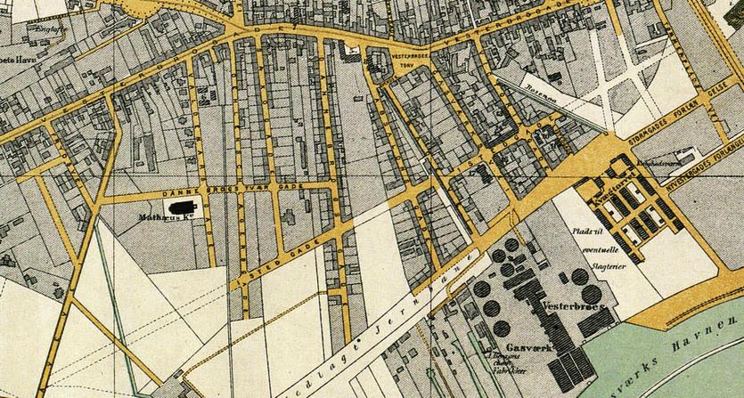 Udsnit af Kort over Kjøbenhavn med nærmeste omegn. Udført af V. F. A. Berggreen. 1883. (Det Kgl. Bibliotek). Istedgade er nu anlagt på flere strækninger, men er endnu kun på tegnebrædtet i sin fulde længde.