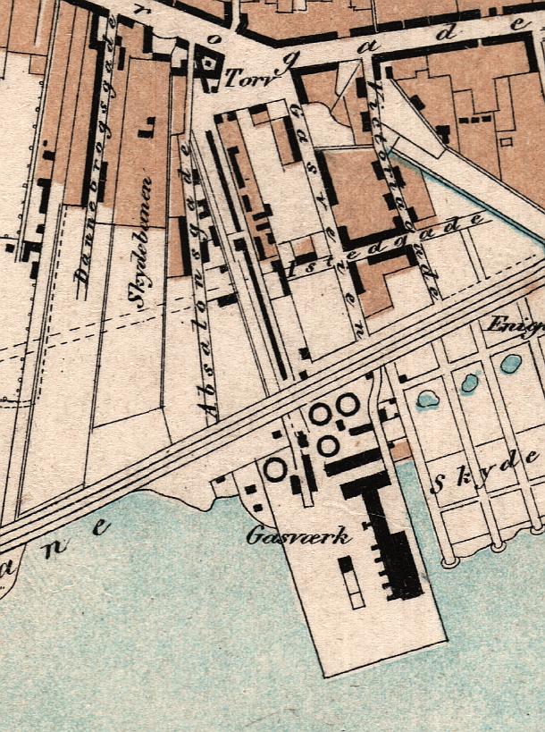 Udsnit af kort og prospekt København 1856 (Københavns Stadsarkiv)
