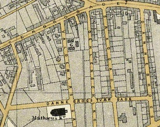 Udsnit af kort over Kjøbenhavn med nærmeste omegn. Frederiksberg, Vesterbro m.m. Udført af V. F. A. Berggreen. 1879. (Det Kgl. Bibliotek)