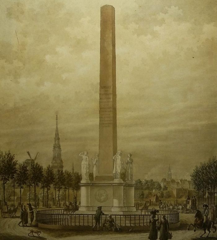 Frihedsstøtten set fra Frederiksbergsiden. Akvarel af Frederik Ludvig Bradt. ca. 1800. (SMK Kobberstiksamlingen)